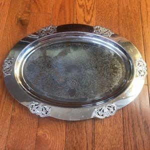 Vintage Serving Platter Dish Silver